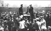 A Searle receiving a trophy for Eynesbury Rovers Football Club, in 1926.