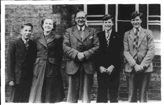 Miles quads with their County Primary School headmaster, Mr W.H. Cobourne. c1949
