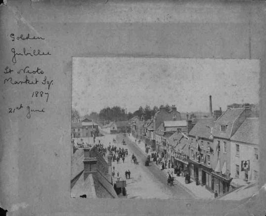 Golden Jubilee celebrations St Neots Market Square 21st June 1887 - looking towards the bridge