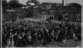 Photograph of people gathered in St Neots Market Square, possibly WW1 Armistice