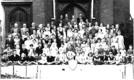 Group photograph of Church Youth at St. Neots Congregational Church. 109 people. 1950?
