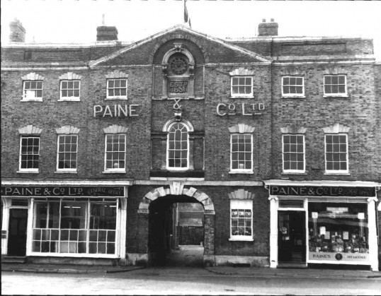 Paine's Brewery & Bull Hotel, Market Square, St.Neots, possibly around 1910.