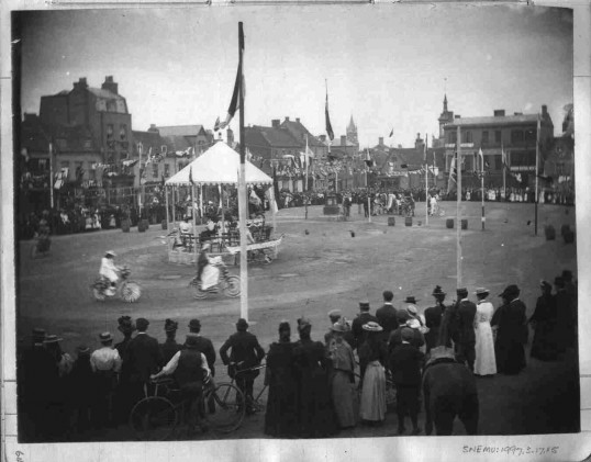 Diamond Jubilee 22nd June 1897 - Decorated bicycles and band stand in St Neots Market Square.