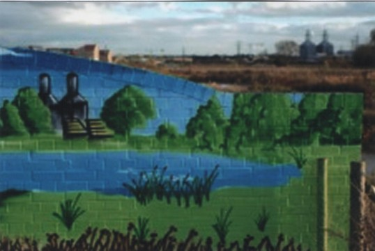 Mural on a bridge at Barford Pocket Park in Eynesbury, in 2007