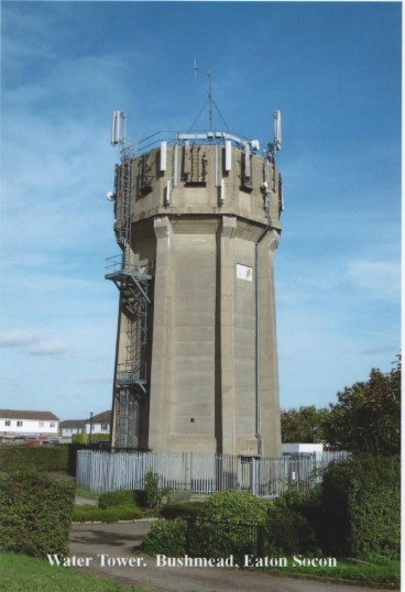 Eaton Socon Bushmead Road Water Tower with telephone antennae, in 2007.