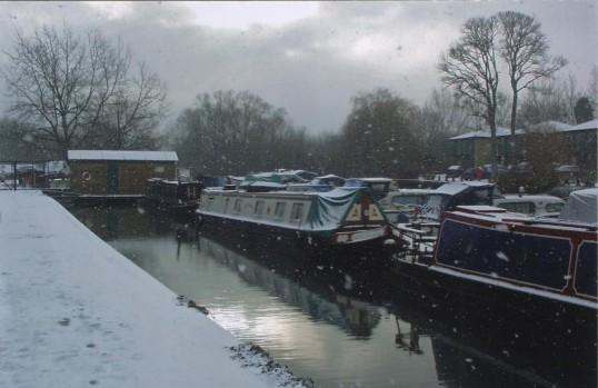 Eaton Socon Lock Marina. Snow scene with boats, in 2007