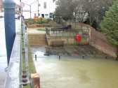 St Neots Jubilee Garden with flood water nearby, in Jan 2007. P Ibbett