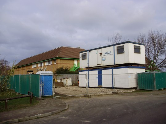 Double Decker site offices for the new Eatons Community Centre at the back of the Co-operative Food Store, Great North Rd, Eaton Ford, in February 2009 (Photo P Ibbett)
