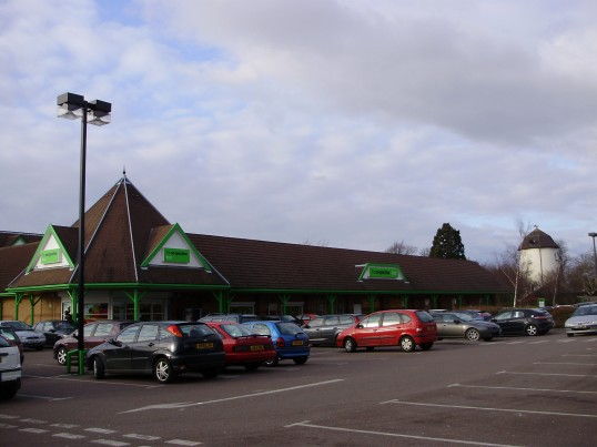 Co-operative Food Store Eaton Ford after the autumn 2008 make-over with Duloe Mill in background. Photo P Ibbett