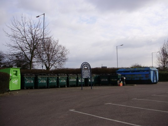 Recycling area at Cooperative Food Store, Great North Rd, Eaton Ford, in February 2009 (P Ibbett)