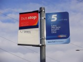 New X5 Bus sign at Eaton Ford, in February 2009 (P Ibbett)