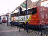 Old style(R Reg)  X5 Oxford to Cambridge Coach at St Neots Market Square, in January 2009. P Ibbett