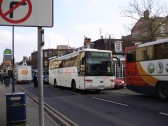 National Express 305 to Liverpool behind Cambridge to Oxford Stagecoach in St Neots Market Square, in January 2009. P Ibbett