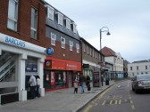 East end of High Street, St. Neots in October 2006, showing Barclays Bank and Powerhouse in the foreground