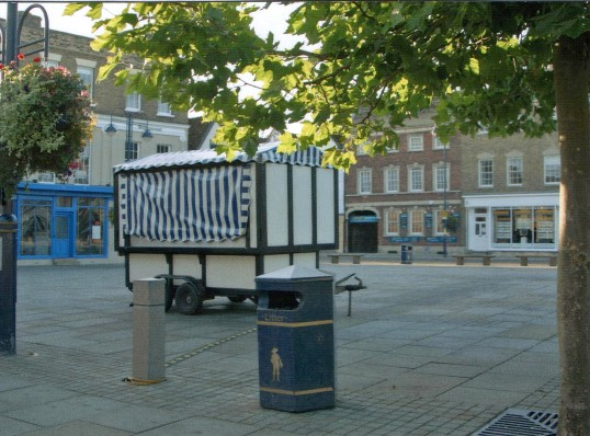 Mobile fast food trailer on Market Square, St. Neots  in 2006