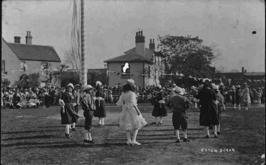May Day Celebrations on Eaton Socon Village Green, pre 1918.