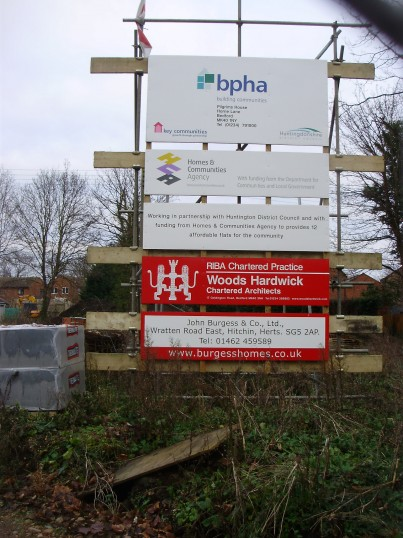 Sign for Sheltered Housing in Cemetery Rd, St Neots in January 2011 (P.Ibbett)