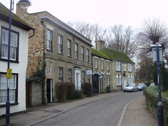View of Church House, a private house and Opticians in Brook Street, St Neots in January 2011 (P.Ibbett)