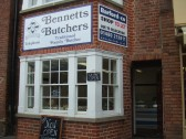 Bennetts Butchers shop, newly opened in St Neots Market Square and now with a sign on January 14th 2013