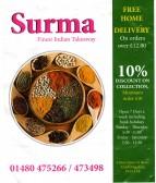 Surma Tandoori Takeaway price list March 2013