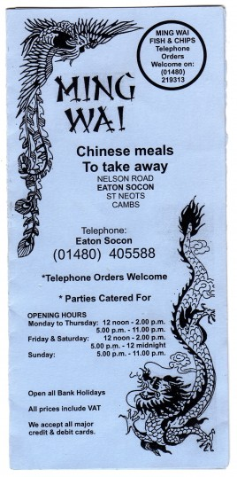 Ming Wai Chinese Takeaway price list at Eaton Socon up to March 2013