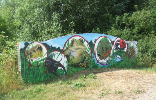 Wildlife mural on a bridge in Barford Pocket Park in July 2013