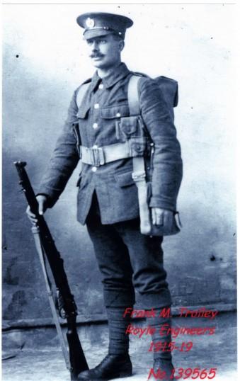 Frank Mitchell Trolley, born in Eynesbury, in uniform in WW1