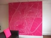 The large pink map of St Neots in Harvey Robinson Estate Agents, 22 Market Square, St Neots, in September 2013
