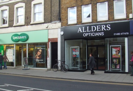 Allders Optician's has moved to the former Party Mania shop in St Neots High Street, next to Specsavers - opened 7th October 2013