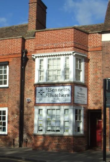 Bennetts Butchers Shop in St Neots Market Square on Nov 2nd 2013 - having closed 31st October 2013