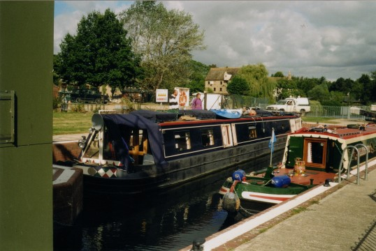 Narrow boats at Eaton Socon Lock on October 27th 2012