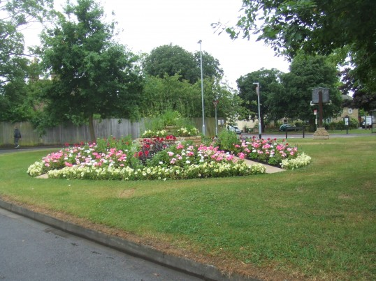 Eynesbury Village Green on June 28th 2013 - a new flower bed created by the Town Council men and now full of flowers