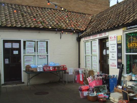 M & K Stationers in Cross Keys Mews on December 9th 2013 - closing down sale