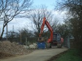A digger at work on the Two Brewers Bridge - April 19th 2013