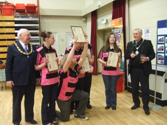 Beer Festival Awards in St Neots - the collection of awards given to the Pig n'Falcon Public House on  March 14th 2013