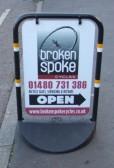 Broken Spoke Cycle shop sign outside the shop in Eaton Socon - January 13th 2013