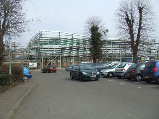 Cinema site - view of the west end of the cinema from Lidls car park - April 8th 2013
