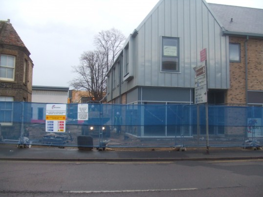 Cinema - view through the entrance between Cressener House and one of the new restaurants - December 13th 2013