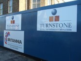 Boards on the blue boarding around the St Neots cinema site on January 4th 2013