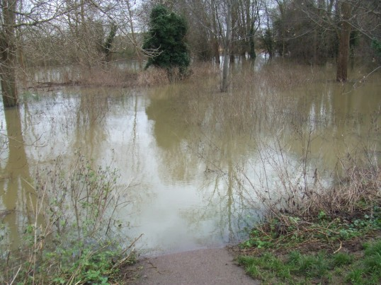 Flooding on Christmas Day 2012 in Eaton Socon - view from the weir towards the footpath through the wooded area