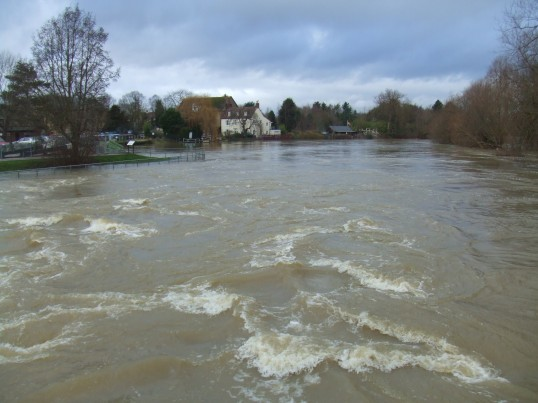 Flooding on Christmas Day 2012 - view towards the Rivermill in Eaton Socon