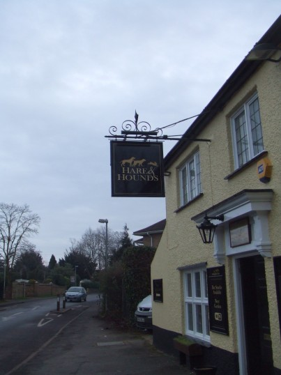 Hare and Hounds new public house sign in Eynesbury - January 17th 2013