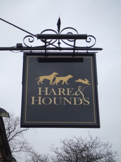 Hare and Hounds new sign in Eynesbury - January 17th 2013