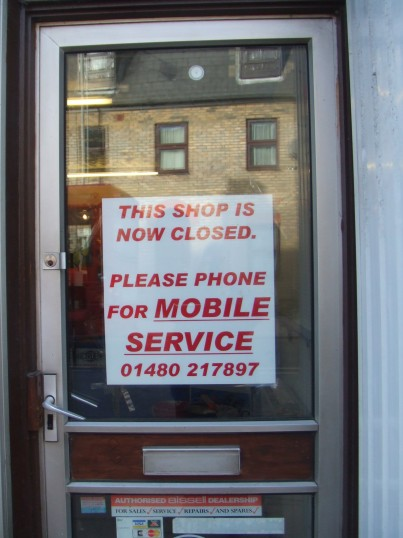 National Vacuum Cleaner Services shop - sign on door - February 5th 2013