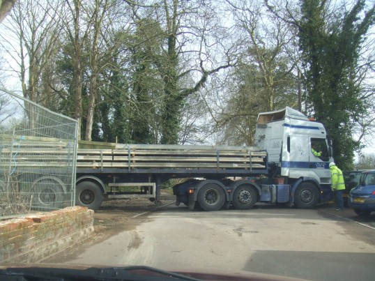 Lorry delivering to the new housing in Cemetery Road - March 18th 2013