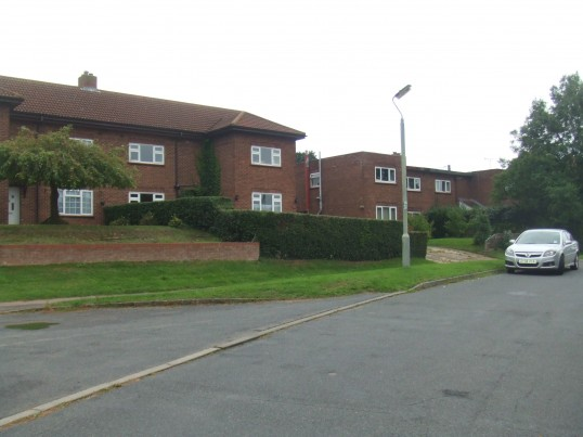 Mountford Close in Eynesbury, with some of its distinctive flat roofed houses - October 2013. This close was once the start of Potton Road.