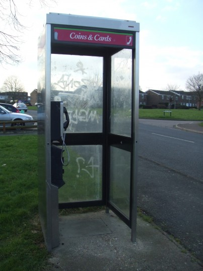 Telephone box in Queens Gardens, Eaton Socon - February 17th 2013