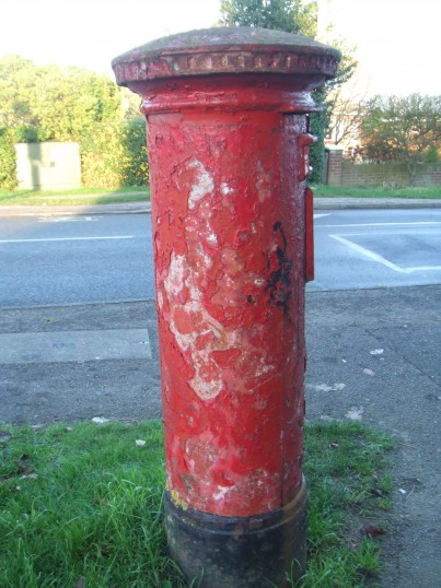 A post box in Bushmead Road - needs to be painted - October 2012