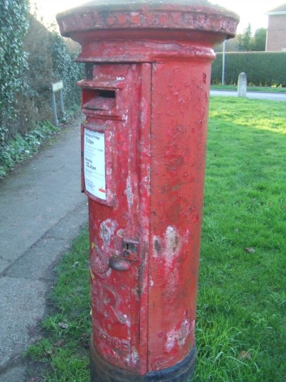 The post box in Bushmead Road - still not painted in December 2013