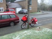Postman's cycle and bags - January 16th 2013, before the vans and trolleys are introduced